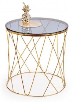 Okrągły stolik pomocniczy z szklanym blatem w stylu glamour Selena