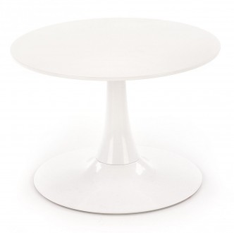 Biały stolik kawowy z okrągłym blatem Slima