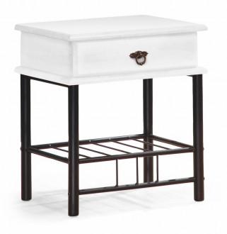 Stolik nocny z szufladą w kolorze białym Fiona