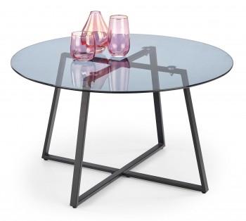 Okrągły stolik kawowy ze szklanym blatem na płozach Zelda