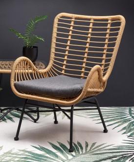 Krzesło rattanowe z poduszką i podłokietnikami Ikaro