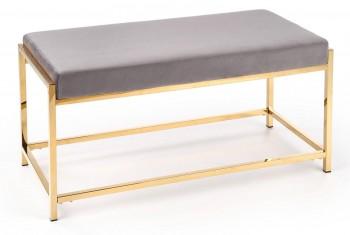 Tapicerowana ławka do przedpokoju ze złotą podstawą Mokka