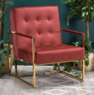 Tapicerowany tkaniną fotel w stylu glamour na płozach Prius