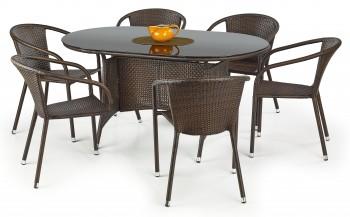 Rattanowy stół ogrodowy ze szklanym blatem Master