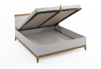 Łóżko bukowo-sosnowe ze skrzynią na pościel Visby Livia BC