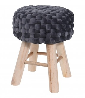 Stołek na drewnianych nogach z plecionym siedziskiem Balea