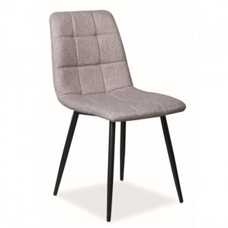 Krzesło jadalniane z szarym siedziskiem pikowanym Mila