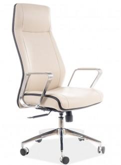 Beżowy fotel z metalowymi podłokietnikami Q 321