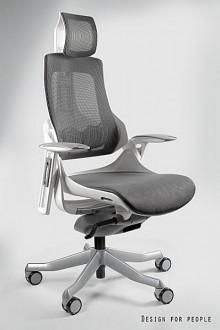 Fotel biurowy Wau biały / siatka grafitowa