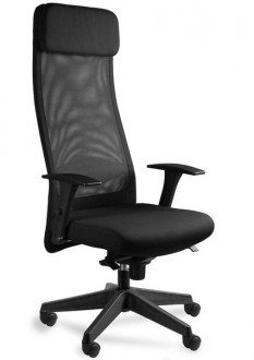 Krzesło z wysokim oparciem Ares Mesh czarne