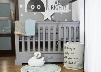 Łóżeczko dla dziecka wielofunkcyjne 70x140 Ines szare