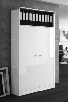 Szafa biurowa biała w wysokim połysku Milano