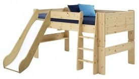 Łóżko na antresoli 90/200 niskie ze zjeżdżalnią Mikka