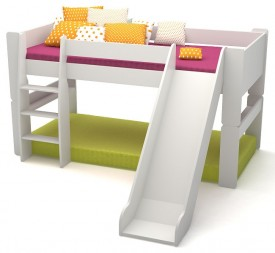 Łóżko na antresoli 90/200 Martin niskie ze zjeżdżalnią