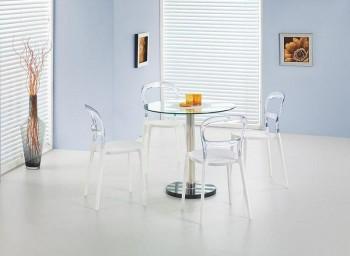 Stół okrągły szklany z podstawą marmurową Cyryl