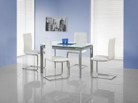 Rozkładany szklany stół Lambert biały