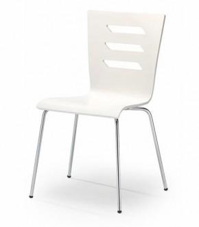 Białe krzesło na chromowanych nogach K155