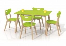 Prostokątny stół na drewnianych nogach Lorrita