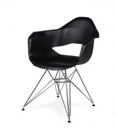 Czarny fotel z tworzywa z wycięciem Gular