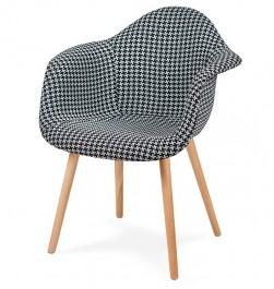 Tapicerowany fotel do jadalni Plush tetris biało czarna