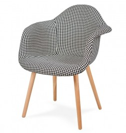 Tapicerowany fotel do jadalni Plush pepitka czarno biała