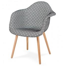 Tapicerowany fotel do jadalni Plush splot czarno biała