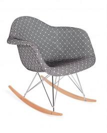 Tapicerowany fotel bujany Plush Rar splot czarno biały