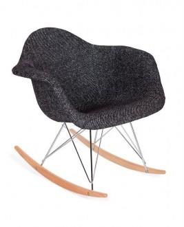 Tapicerowany fotel bujany Plush Rar zebra czarno biała