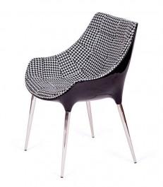 Nowoczesny fotel Philippe Passion tkanina tetris czarno biała