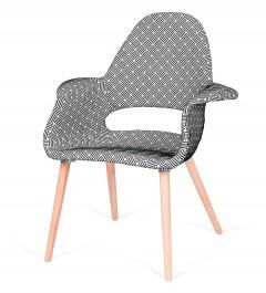 Tapicerowany fotel do jadalni Plush Arm splot czarno biała
