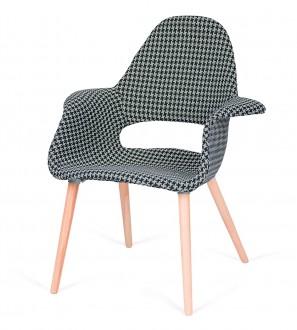 Tapicerowany fotel do jadalni Plush Arm tetris biało czarna