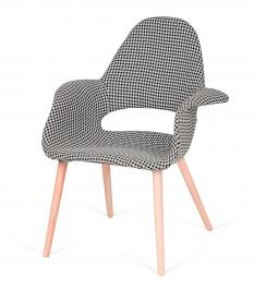 Tapicerowany fotel do jadalni Plush Arm pepitka czarno biała