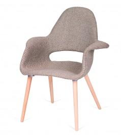 Tapicerowany fotel do jadalni Plush Arm zebra beżowa biała