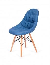 Tapicerowane krzesło Rugo do jadalni na drewnianych nogach
