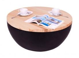 Czarna ława z drewnianym olejowanym blatem Half Dome Natural