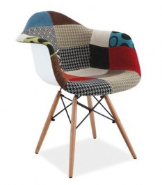 Krzesło patchwork z drewnianym stelażem Denis II