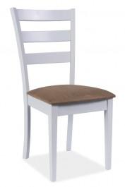 Białe drewniane krzesło z beżowym siedziskiem CD-86