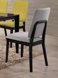 Drewniane krzesło z szarym tapicerowanym siedziskiem i oparciem Fiori