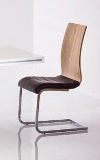 Krzesło ze sklejki z siedziskiem z ekoskóry H791 dąb sonoma