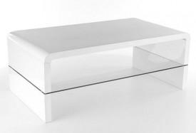 Biała ława ze szklaną półką Rica