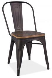 Metalowe krzesło z drewnianym siedziskiem Loft 4