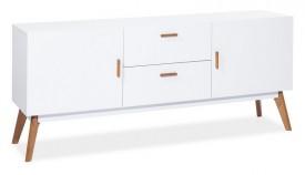 Biała komoda z drewnianymi nóżkami Milan K1