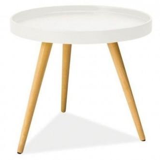 Okrągła ława z drewnianymi nogami Toni C