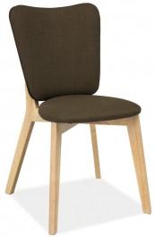 Krzesło z tapicerowanym siedziskiem i oparciem w kolorze khaki Montana
