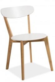 Krzesło ze stelażam drewnianym i białym siedziskiem Milan