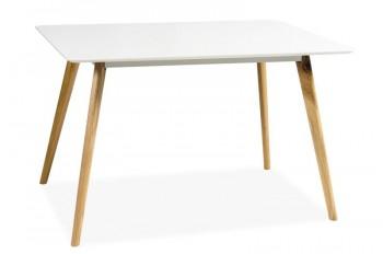 Biały stół na drewnianych nogach Milan 120