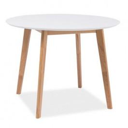 Stół z okrągłym blatem Mosso II biały / dąb 100