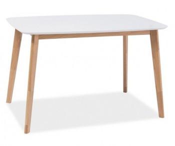 Stół z białym blatem na dębowym stelażu Mosso I