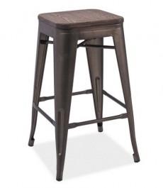 Metalowy hoker z drewnianym siedziskiem Long