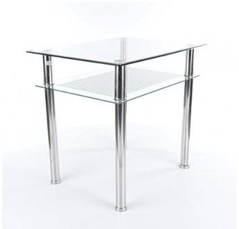 Szklany stół Pixel z półką 80